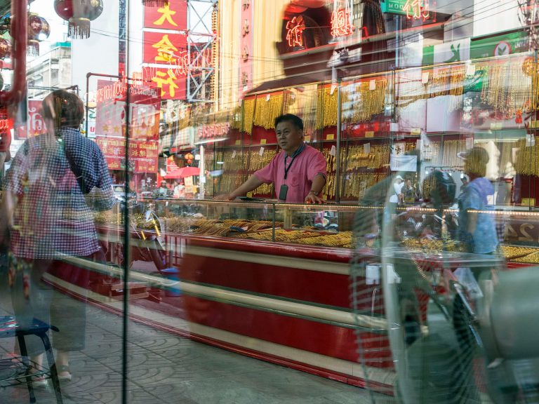 Spiegelung in China Town in Bangkok